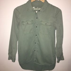 Madewell army green button up shirt jacket xs
